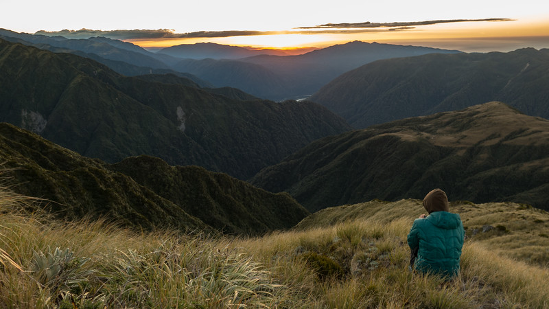 Sunset from Miserable Ridge, Mikonui Valley in the distance (photo - James Thornton).