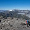 On the summit of Mt Bowen looking towards the Bracken Snowfield and Evans. Arrowsmith Range on the left (photo - James Thornton).