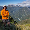 On Miserable Ridge looking down to the Whitcombe/Hokitika confluence.