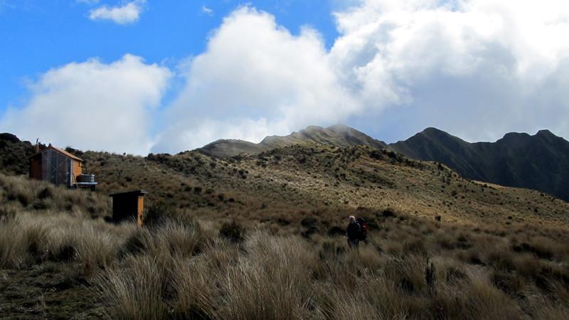 Leaving Mt Brown Hut.