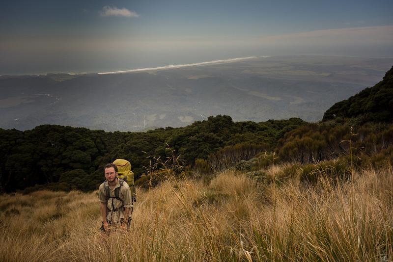 Reaching bushline below Mt Fleming.