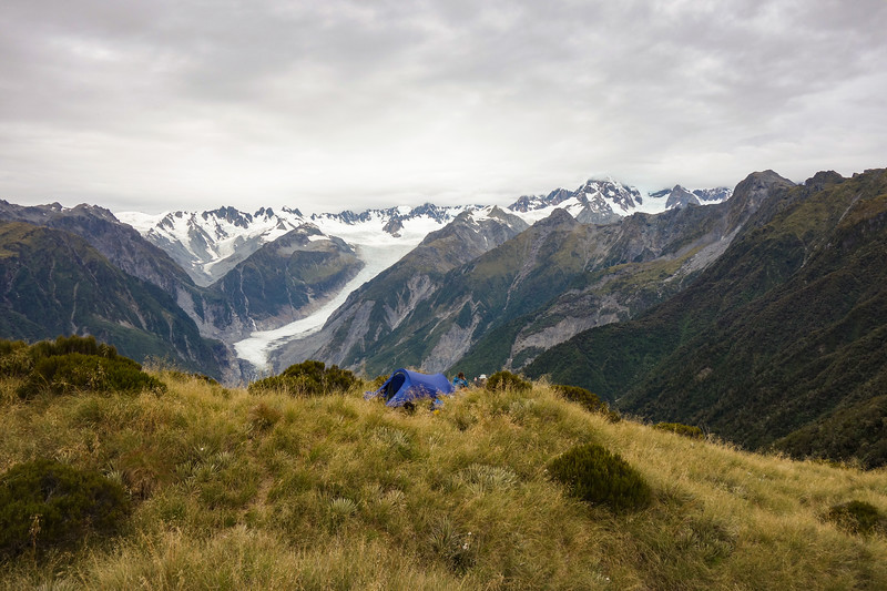 Camp above the Fox Glacier.