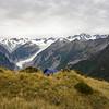 Camp above the Fox Glacier.