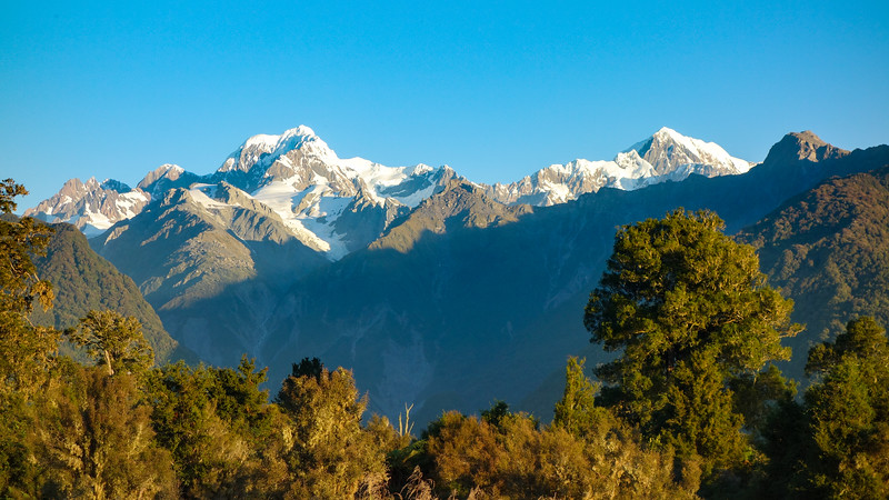Mt Tasman and Cook from the Lake Matheson carpark.