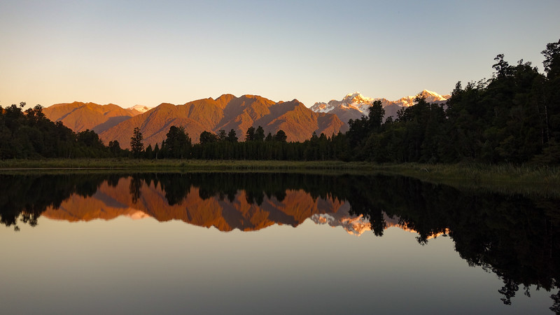 Mt Tasman and Cook reflecting in Lake Matheson