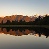 Mt Tasman and Cook reflecting in Lake Matheson
