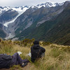 Relaxing above the Fox Glacier.