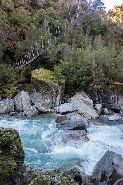 The swingbridge across the Arahura at Third Gorge Creek.