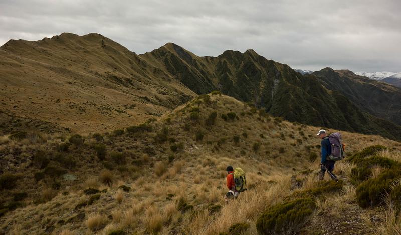 Starting the ridge traverse to Newton Range Biv.