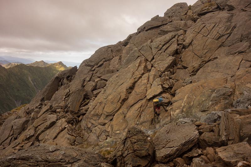 Scrambling on the ultramafic rocks (photo - James Thornton).