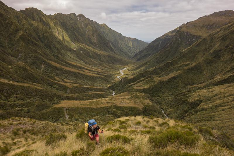 Climbing up the spur, Big Wainihinihi behind (photo -James Thornton).