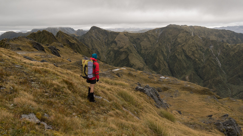 James looking along the Razorback Ridge towards Peak 1572m - our lunch destination.