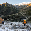Leaving Scamper Torrent Hut the next morning  for Mt Durward above James' head.