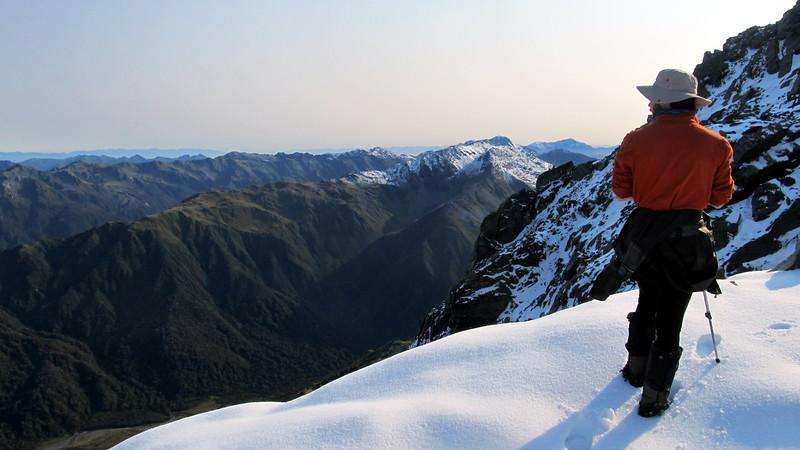 James below Mt Lathrop looking into the Styx. Mt Alexander in the far distance.
