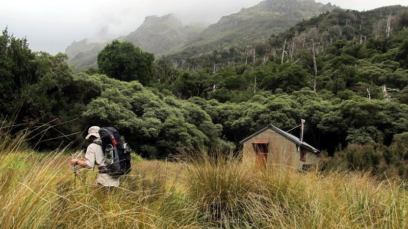 James reaching Dunns Creek Hut.