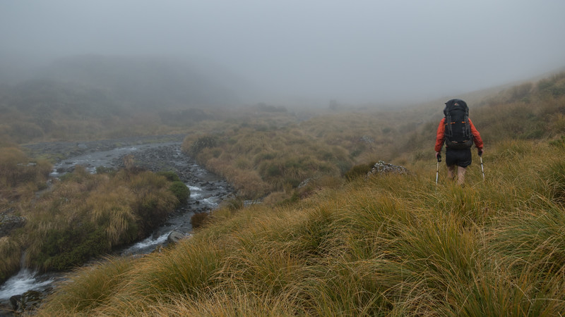 Crossing Trent Saddle in inclement weather.