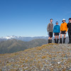 The team on the summit of Mt Reeves- Bracken Snowfield, Whitcombe and Evans left of us.