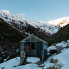Top Kokatahi Hut the next morning -after a cosy and comfortable night thanks to double-glazing and a wood burner.