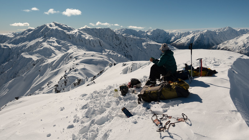 Lunch brew on Pt 1694m (photo - James Thornton).