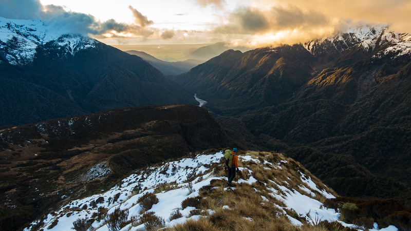 Descending down to Yeats Hut (on the bench on the left) at sunset.