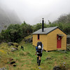 Arriving at Smyth Hut, which now lives on an island due to the New Years flood this year,