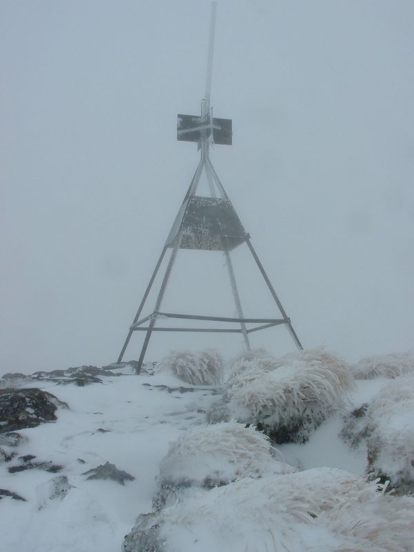Summit Mt Holdsworth - 2 hours after heading into the murk from Jumbo turnoff.