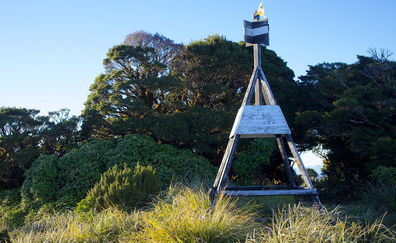 About to leave the summit and head back to the car. I slept on my sleeping mat under the trees behind the trig.