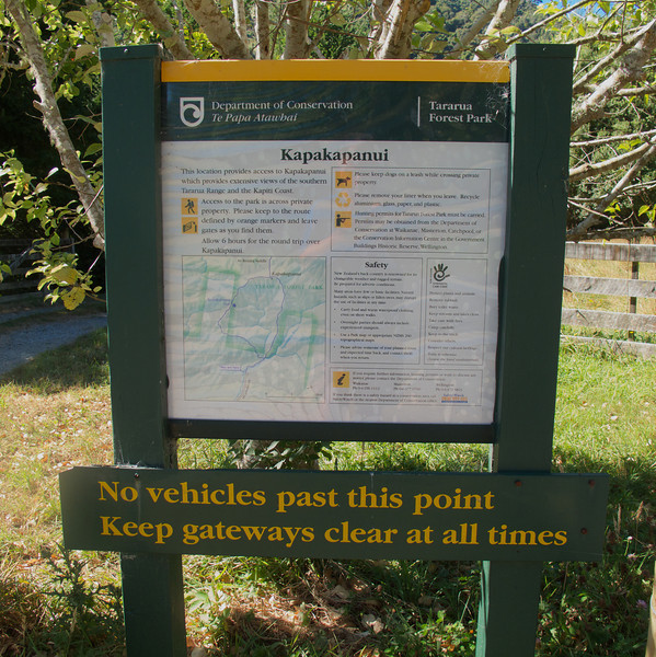 Department of Conservation information sign for Kapakapanui Tramp, end of Ngatiawa Road, Waikanae.