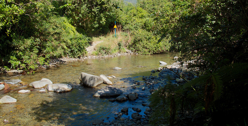 First of several river crossings Kapakapanui Track Mar 2013