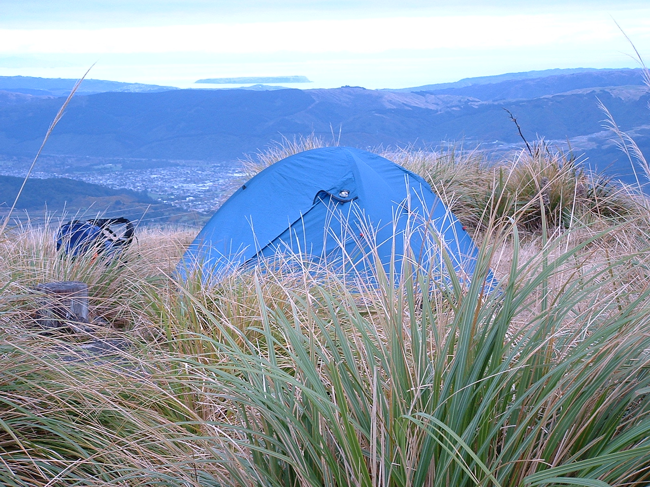 I camped at the top on the night of the 23rd May 2004, although I don't think you are really meant to. It wasn't the first time I had done that! I camped near the summit on Christmas Day one year too. That is Kapiti Island in the distance and Upper Hutt down in the valley below.