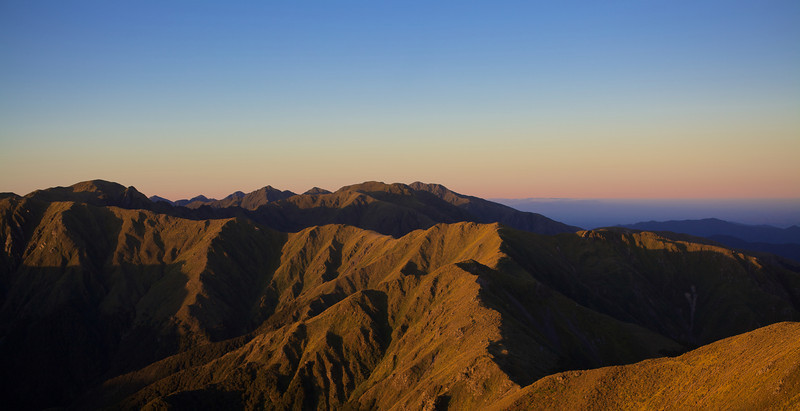 Last of the evening sun going down on the ridge between Mt Holdsworth Summit to Jumbo and Angle Knob, Tararua Forest Park 25 Feb 2013