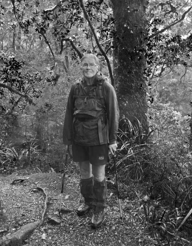 A Tararua Legend, Eric MacIntosh<br /> <br /> <br /> Eric MacIntosh, on the Atiwhakatu Track, Tararua Forest Park.<br /> <br /> Eric has climbed Mt Holdsworth (1470m) 838 times since 1980 and climbed Mitre (1571m), the highest peak in the Tararuas at least once every single year since 1988.<br /> <br /> There won't be a single hiker in the Tararuas that won't have seen his name and comments in the Hut Books. I banged into Eric at Atiwhakatu Hut and had the privilege to walk with him back to the car park at Holdsworth Lodge. I told him it was nice to meet a Tararua legend, but of course he modestly scoffed at the suggestion, but if 838 summits of Mt Holdsworth isn't legend material, I'm not sure what is.