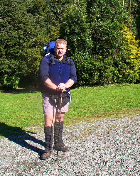 About to set off from Holdsworth Car Park, Tararua Forest Park to walk up to Powell Hut. <br /> My first tramp since knee cartilage surgery Jul 2010. Did 12 hours of tramping in three days, so a good test.