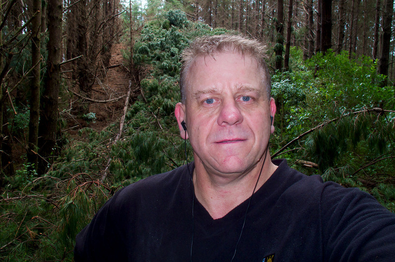 Tony with fallen pines behind on the the Extended Pylon Walk Mar 2012.<br /> (taken about a month after the rest of this album)