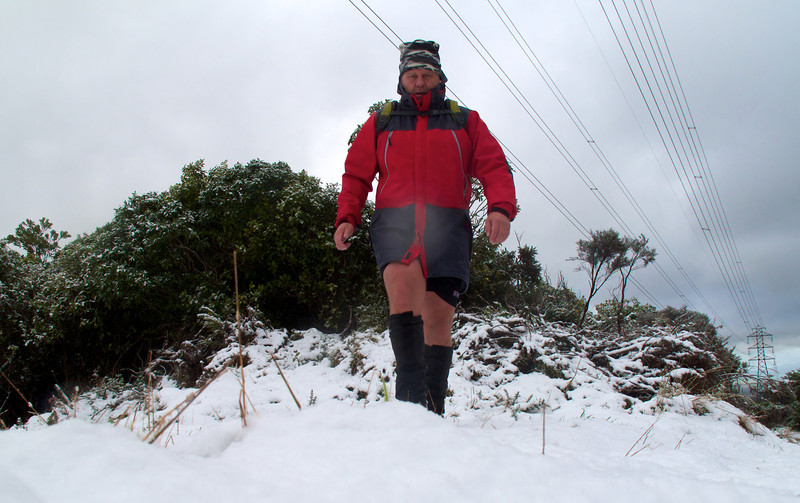 At the top of the Pylon or Keith George Memorial Park, Upper Hutt.<br /> <br /> I've been walking up here since 1999 and this is the second time I've had snow up here.