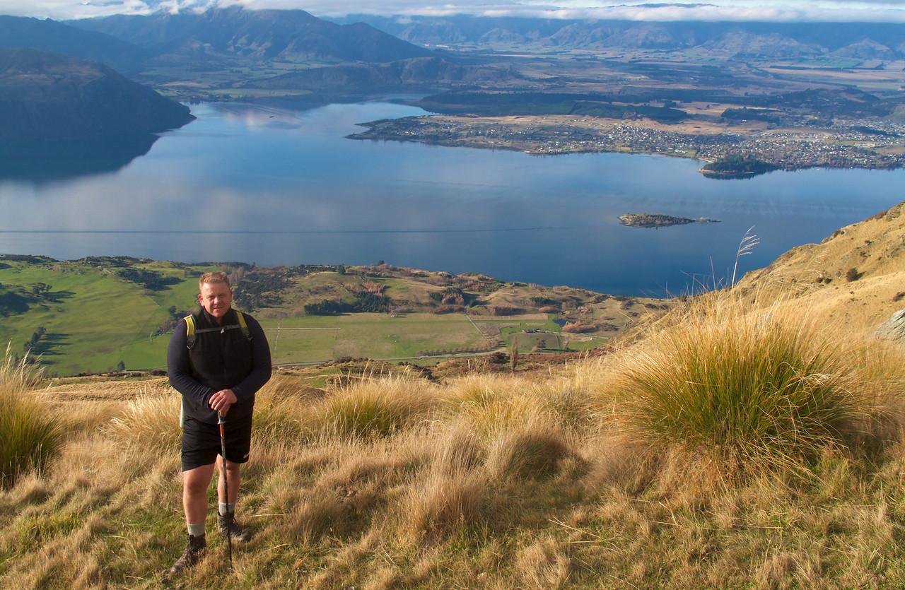 Tony mid Roys Peak with Lake Wanaka in Background Jun 2011