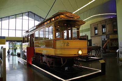 672 Bogie Single Deck Tram inside Glasgow Riverside Museum  02/07/12.