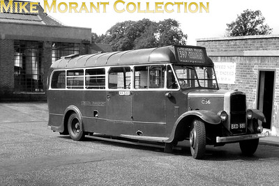 London Transport Leyland Cub no. C56, registration BXD681, standing outside Tring garage on An unspecified date in 1950. C56 sports an MA (Amersham) garage plate and is on route 397 to Chesham Moor which is of personal interest because that's where I lived for most of the 1970's. C56 would remain in service until being placed in store at Garston in February 1954 which was followed by sale to an unspecified buyer in the following September. This image, I own the original negative, appears in John Hambley's 1950 year book and is attributed to Len's of Sutton. [Mike Morant collection]