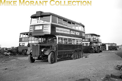 London Transport 'Bluebird' double-decker bus LT1277, registration no. GX 5213, with the bottom body panels removed at Daniels scrapyard in Rainham, Essex. Not dated but LT1277 had been withdrawn from service in August 1949. [Mike Morant collection]