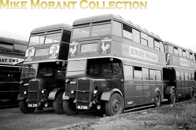 Holding centre stage is London Transport, Duple bodied Daimler highbridge bus no. D24 of 9/44 vintage whilst to the left thereof is Brush bodied D110 of 6/45 vintage. Both spent their entire working lives allocated to AL Merton garage but it isn't known where this where this shot was taken. D24 was withdrawn in October 1953 and sold to North of Leeds who exported it to Ceylon; South Western Omnibus Co. D110 was withdrawn at around the same time and was also sold to North but it would move not so far away to Belfast Corporation where it continued in service until the end of the 1960's albeit having been rebodied by Harkness. [Mike Morant collection]