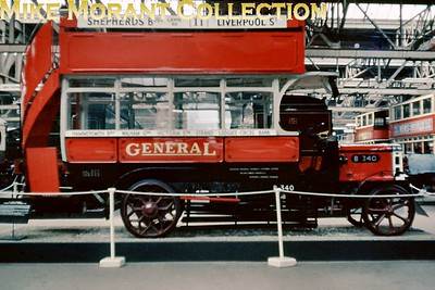 MUSEUM OF BRITISH TRANSPORT, CLAPHAM LGOC 'B' type open top London bus B340 in the Museum of British Transport, Clapham on 13/7/63. [Slide taken by Mike Morant]