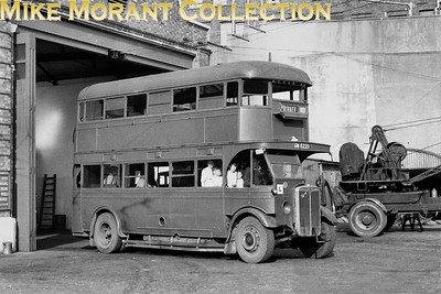 This photo was taken at Brighton Corporation Depot in Lewes Road, GN6220 was otiginally a Thomas Tilling AEC Regent with Dodson bodywork built in 1931. Brighton Corporation purchased it from Brighton Hove & District and numbered it 81, it was painted grey and ysed for driver training. In 1940 it was requisitioned by the Royal Navy but returned to Brighton Corporation in 1946. GN6220 was bought from BH&D in October 1938 specifically for driver training, I don't think it was ever used in passenger service. It was an AEC Regent 0661 petrol engined bus, after return from the Royal Navy it continued as a driver trainer until it was scrapped in April 1952. Brghton Corporation acquired 2 more buses of the same type from BH&D, one was converted to a tower wagon and the other was eventually sold and was reregistered and rebodied as a coach. [Mike Morant collection]