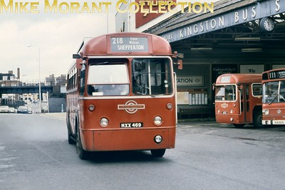 Central area, red liveried RF 492  - MXX 469 -  departs from Kingston garage on route 219 bound for Shepperton. This shot was taken between September 1978 and March 1979 but RF 492 had long been a 'K' allocated bus back as far as 1965. Following withdrawal in March 1979 RF 492 found a variety of owners but would be sold for scrap in January 1995. [Mike Morant collection]