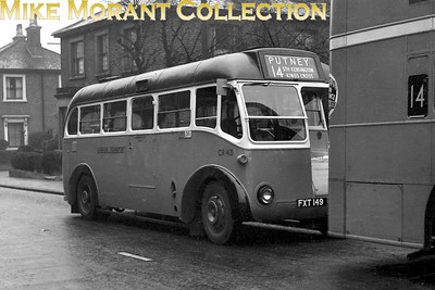 London Transport bus CR43, registration FXT 149, with route 14 on the indicator's display is between duties at Putney. [Mike Morant collection]