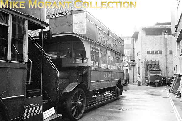<b>MUSEUM OF BRITISH TRANSPORT, CLAPHAM</b><br> LGOC open top double-deck bus no. S 742 parked outside the rear of the museum on a wet afternoon in 1969.<br> [<i>Mike Morant</i>]