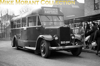London Transport Leyland 'Country Cub' C69, registration no. BXD 694, at Guildford on route 448 to Peaslake. This negative isn't dated but was probably taken in 1952/3. Withdrawal for C69 came at GF Guildford in December 1953. [Mike Morant collection]