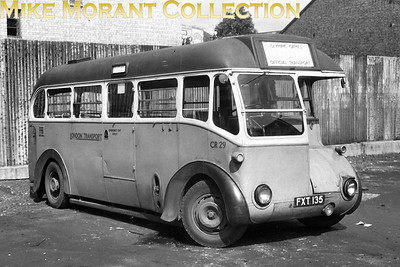 London Transport bus CR29, registration FXT 135, with OLYMPIC GAMES on the indicator's display at Putney Bridge garage in 1948. The games themselves wre held between July 29th and August 14th 1948. [Lens of Sutton / Mike Morant collection]