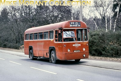 Central area, red liveried RF 495  - MXX 472 -  on route 219 from Kingston to Weybridge at an undisclosed location en route and taken during the period between August 1978 and March 1979 when allocated to Kingston garage and until withdrawal from service. however, that wasn't the end of the story for RF 495 as it survives to this day as an active heritage vehicle. [Mike Morant collection]