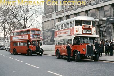 Preserved London Transport Tilling ST922 double-deck bus with outside staircase on heritage route 100 at Horse Guards Avenue in central London. [Slide taken by Mike Morant]