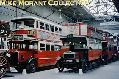 MUSEUM OF BRITISH TRANSPORT, CLAPHAM London Transport LT 165 and LGOC 'S' type open top London bus S 742 in the Museum of British Transport, Clapham on 13/7/63. [Slide taken by Mike Morant]